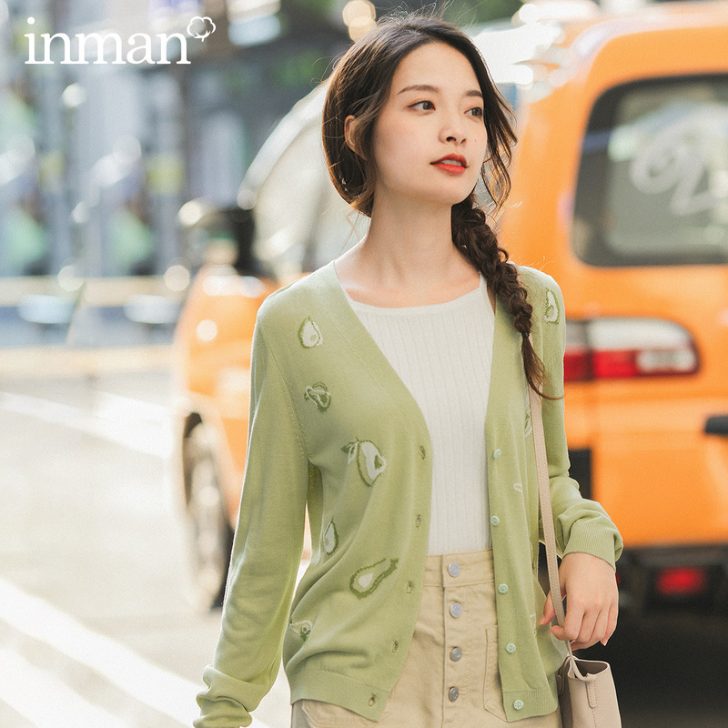 INMAN 2020 Spring New Arrival Literary Avocado Pattern V-neck Single-breasted Cardigan Knitwear