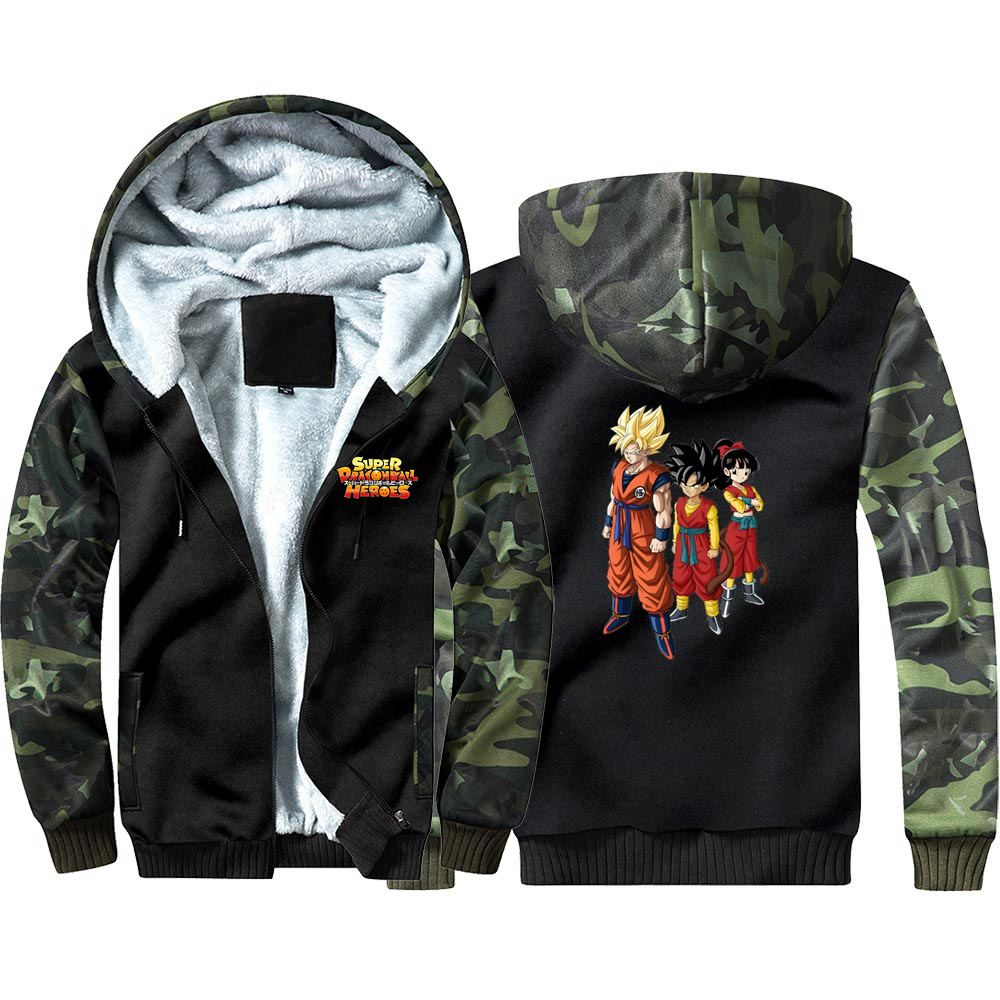 New Dragon Ball Heros Camouflage Hoodie Sweatshirts Winter Casual  Coat Cosplay Costume Thicken Warm Hooded Men Women Clothing