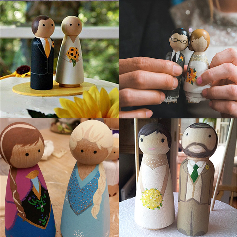 BalleenShiny 10Pcs DIY Wood Peg Dolls Kids Painting Toy Baby Early Educational Toys Child Gift Christmas Ornaments Home Decor