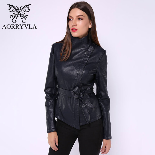 AORRYVLA New Spring Women Leather Jacket Red color Turn-Down Collar Short Length Slim Style Fashion Faux Leather Jacket 2020