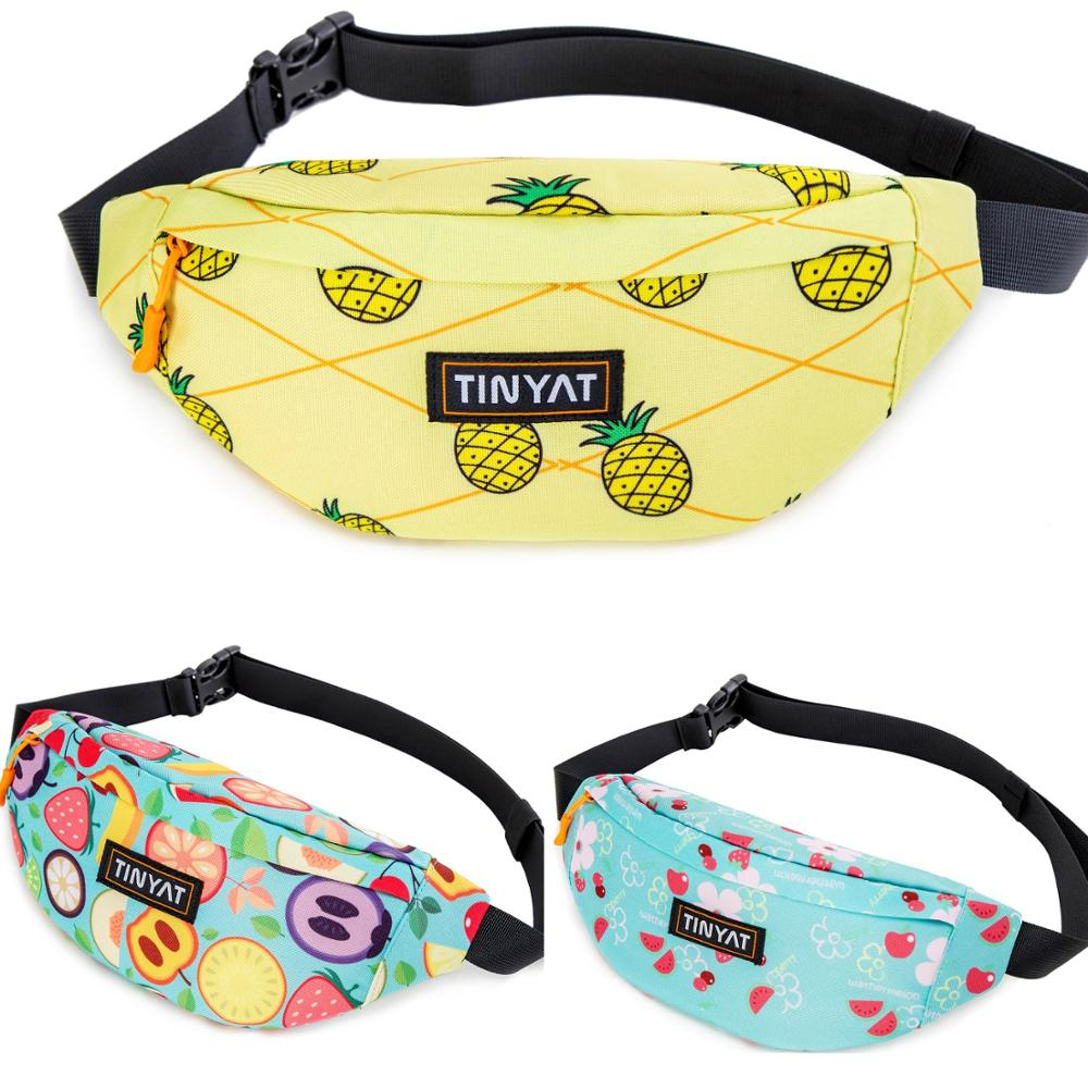TINYAT Women Fruit Waist Bag Pack Casual Travel Belt Bag For Female Phone Money Belt Pouch Print Cartoon Light Fanny Bag Hip