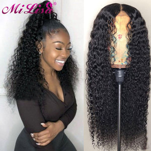 Curly Lace Front Human Hair Wigs 30 Inch 4x4 Lace Closure Wigs Mi Lisa Hair Remy Peruvian 13x6 Transparent HD Lace Frontal Wigs(China)