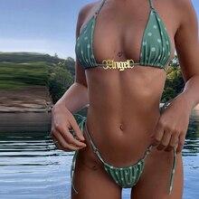 Beach Jewery Custom Nameplate Swimsuit Charms Personalized Name Bikini Buckle Stainless Steel Dainty Tag Jewelry Best Friends