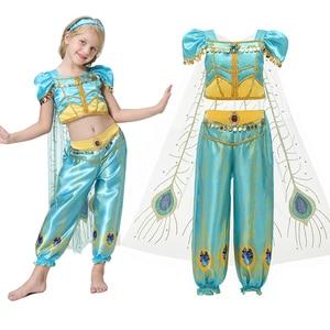Image 3 - סרט בנות ילד קיץ יסמין נסיכת ריקוד שמלת ילדי אלדין ליל כל הקדושים מפלגה ביצועים תלבושות למעלה חצאית צפצף סט
