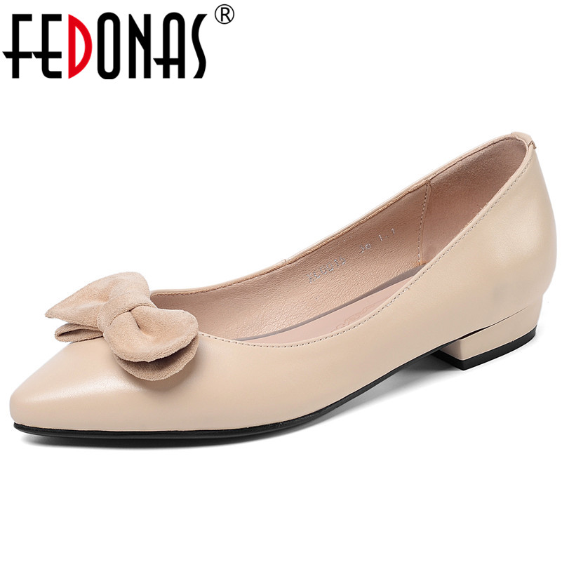 FEDONAS Classic Shallow Butterfly Knot Women Pumps Genuine Leather Low Heels Party Office Shoes Woman Spring Big Size Shoes