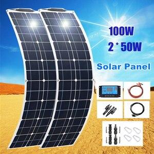 Image 1 - 2*50W (100W)  12V חצי גמיש גמיש יחיד פנל סולארי קרוון ואן משודרג 10A שמש תשלום בקר לרכב RV ימי