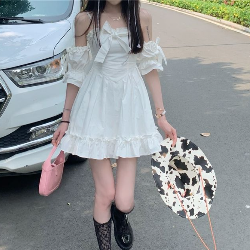 White Kawaii Fairy Strap Dress Women Patchwork Off Shoulder Sexy Party Mini Dresses Bow Ruffle Sweet Cute Princess Sundress 2021 4