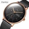 Männer Uhr Fantor Top Luxus Marke Chronograph Uhren Mann Schwarz Mesh 2019 Casual Herren Quarz Armbanduhr Wasserdicht Mann Uhr