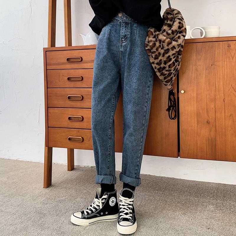 Женские эластичные джинсы Harlan с высокой талией, простые однотонные хлопковые эластичные свободные повседневные джинсовые брюки до щиколотки, новинка весны 2020