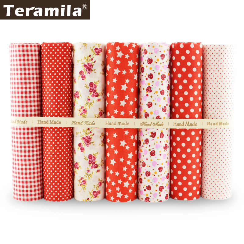 Teramila Red Color 100% Plain Cotton Fabric 7PCS/lot Patchwork Fat Quarter Telas Meter Scrapbooking Set Cloth Sewing  Tecido