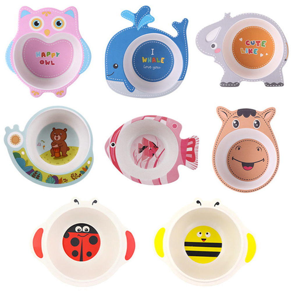 Baby Kids Feeding Tableware Natural Bamboo Fiber Bowls Cartoon Animal Dishes Children Tableware Infant Toddler Portable Plates