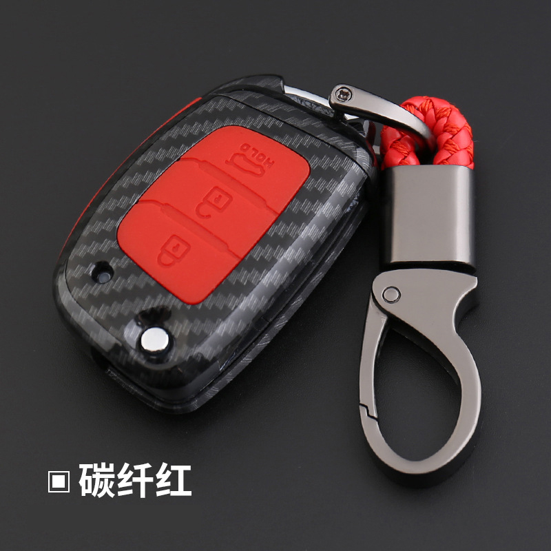 <font><b>2019</b></font> Anti-fall Carbon Fiber Silicone Car Key Cover <font><b>Case</b></font> <font><b>For</b></font> <font><b>Hyundai</b></font> Elantra <font><b>Tucson</b></font> Mistra Verna Sonata IX25 IX35 Auto Key Shells image