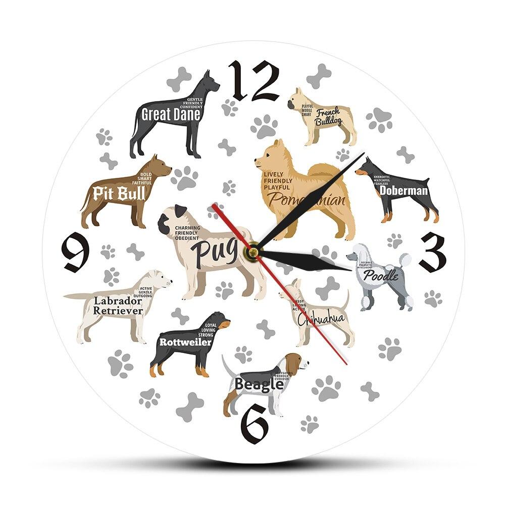 Dog Breeds Printed Acylic Wall Clock Puppy Pet Reloj De Pared Clock Wall Watch Quartz Clock Battery Operated Animal Horloge