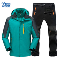 TRVLWEGO Waterproof Ski Suit Men Jacket Skiing Pants Outing Male Winter Outdoor Skiing Snow Snowboard Fleece Jacket Pants Sets