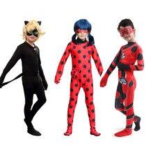 Déguisement Cosplay pour enfants, déguisement d'halloween, Reddy, boucles d'oreilles, chat Noir, ensembles complets, bagues, Costumes en Spandex pour filles