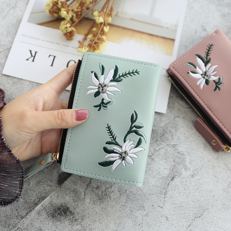 2019 New Embroidery Flower Women Wallets And Purse Cute Students Zipper Ladies Wallet Small Leather Wallet Card Holder Money Bag