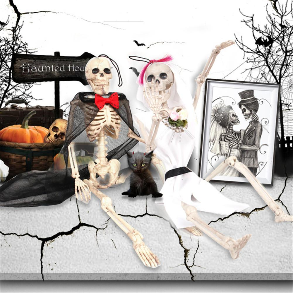 <font><b>Poseable</b></font> <font><b>Skeleton</b></font> Figure With Movable Joints Ghost Bride Haunted House Props For Halloween Party Decoration image