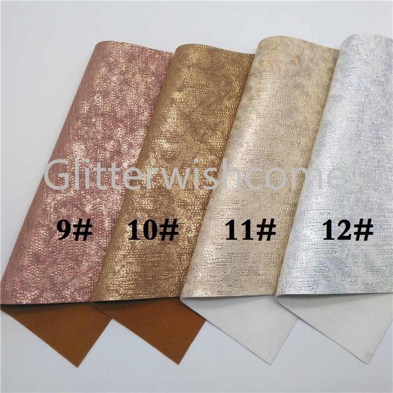 Glitterwishcome 21X29CM A4 tamaño tela de piel sintética de serpiente metálica, hojas de tela de cuero sintético, cuero PU para lazos, GM493A
