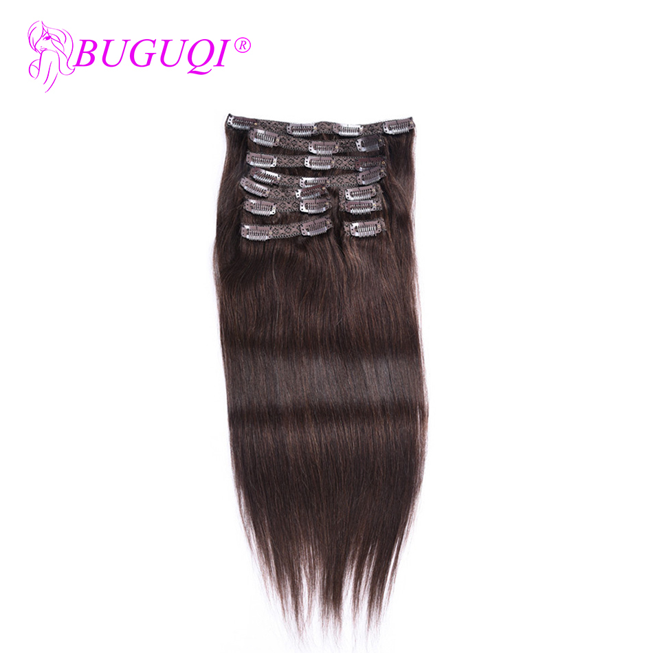 BUGUQI Hair Clip In Human Hair Extensions Brazilian #2 Remy 16 To 26 Inch 100g Machine Made Clip Human Hair Extensions