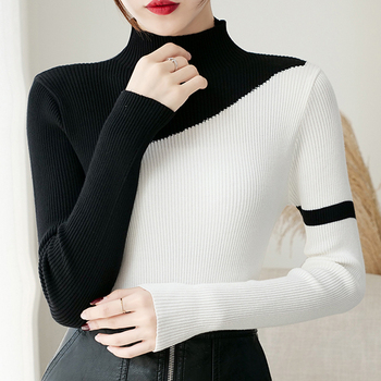 2019 Fashion Patchwork Color Woman Sweater Autumn And Winter Knitted Turtleneck Sweaters Casual Soft Femme Elasticity Pullovers turtleneck fashion patchwork knitted sweater women pullovers contrast color streetwear sweaters tops autumn winter pull femme