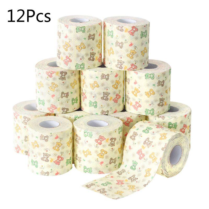 12pcs Cartoon Bear Pattern Home Bath Toilet Roll Paper Wood Pulp 3 Layers Tissue
