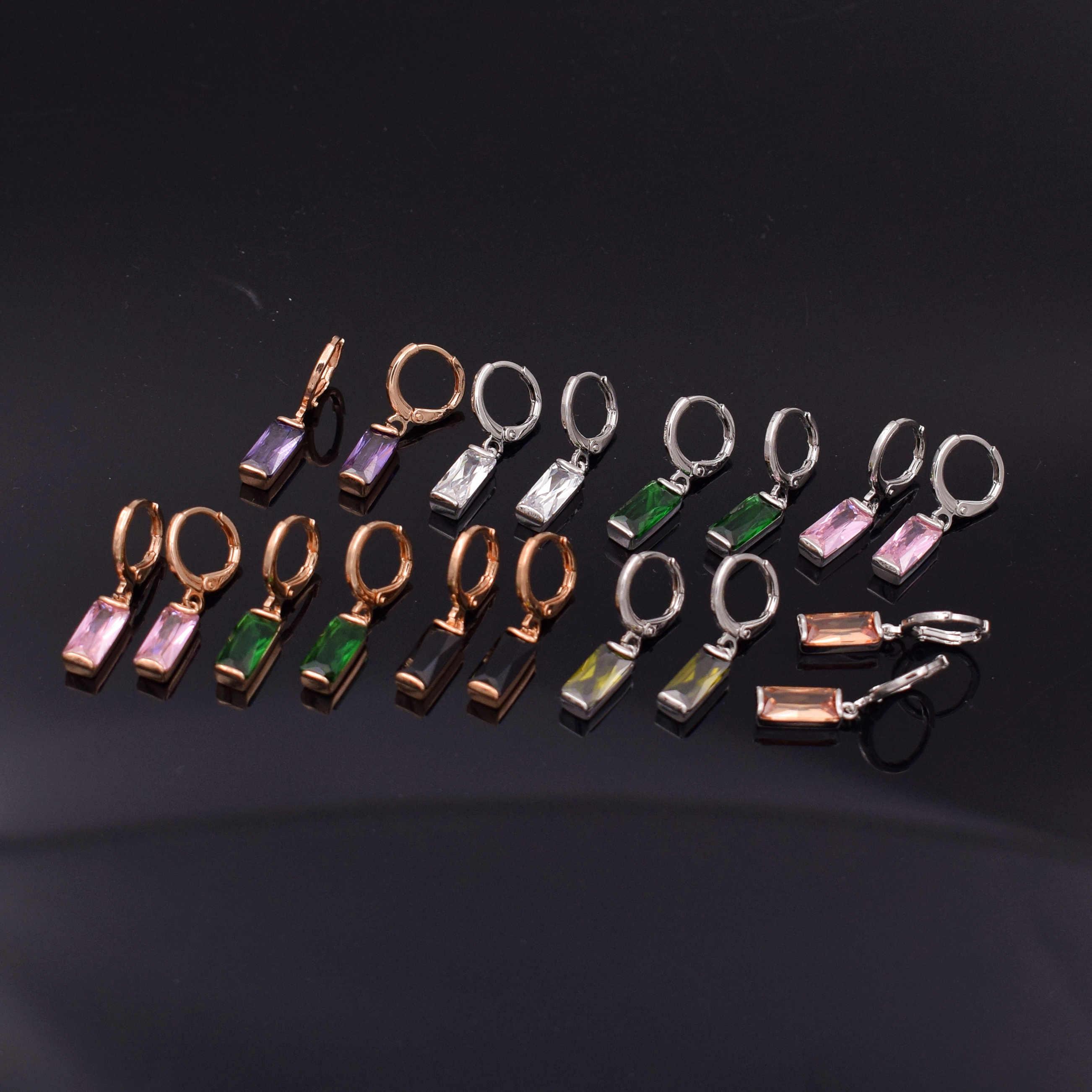 Yoomuna Ouro Rosa 585 Brincos de Cor Rosa Praça zirconia Pedra Perfurado Oscila Brincos para As Mulheres Brincos moda jóias