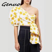 Genuo New Summer Sexy Print Off Shoulder Skew Collar Women's Blouse Half Sleeve High Slim Irregular Hem Female Top Clothing 2019