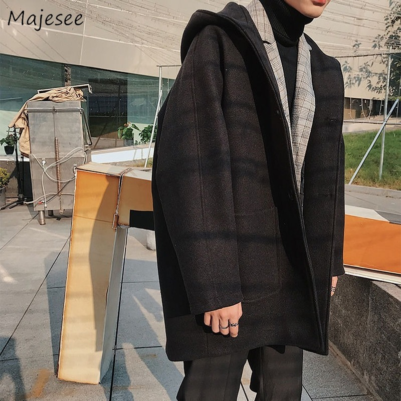 Woolen Coat Men with Hooded Plus Size Mid-long Outwear Mens Stylish Autumn Winter Clothes Street Style High-end Overcoat Pockets