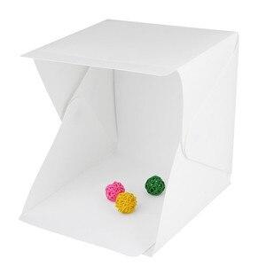 Portable LED Lightbox Folding Photography Box Studio Softbox With Black White Backgroud LED Light Photobox For Phone DSLR Camera(China)