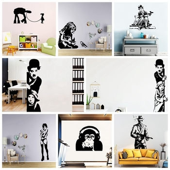 Creative Banksy Wall Art Decal Wall Stickers Vinyl Material For Home Decor Living Room Bedroom Mural Poster holy buddha stickers religion vinyl wall sticker for living room decal decor mural bedroom wall art decals muurstickers wl2025