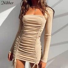 Nibber Elegant StackedCotton Tassel Female Dress Fall Vintage Drawstring Pure Streetwear Casual Activity Ribbing Woman Clother