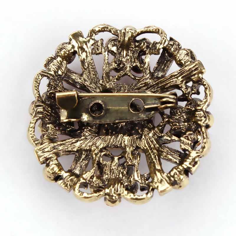 MIEG Dell'annata di Colore Dell'oro Placcato Brooches Del Fiore per Le Donne del Rhinestone di Cerimonia Nuziale Bouquet Bijoux Spilli Gioielli Accessori di Abbigliamento