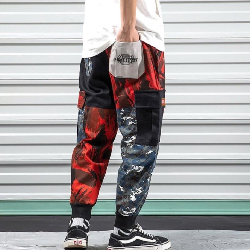 iiDossan 2020 Patchwork Men Cargo Pants Men Multi-Pocket Joggers Pants Military Overalls Japanese Harajuku Streetwear Trousers