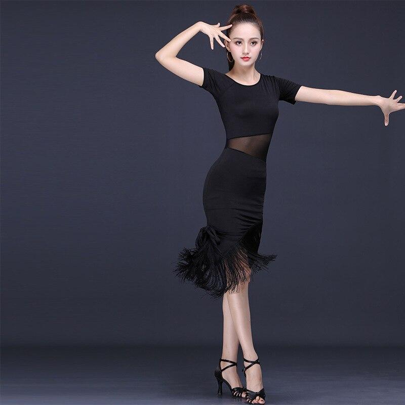 Latin Dance Dress Female Adult Performing Ballroom Tango Cha Cha Latin Dance Dresses New Short Sleeve Tassel Skirt Dance Dress
