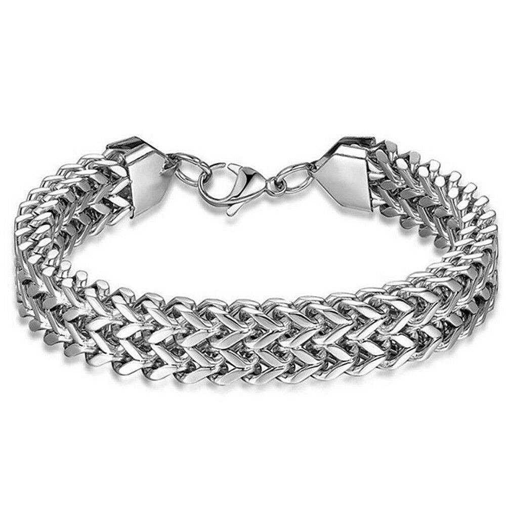 Mężczyźni fantastyczny srebrny ze stali nierdzewnej stalowy mankiet nadgarstek bransoletka chłopięca fajna bransoletka