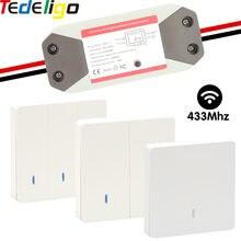 Tedeligo interruttore a parete AC 110V 220V 7A ricevitore 433Mhz telecomando RF Wireless 86 pannello a parete per lampada da soffitto lampada da corridoio