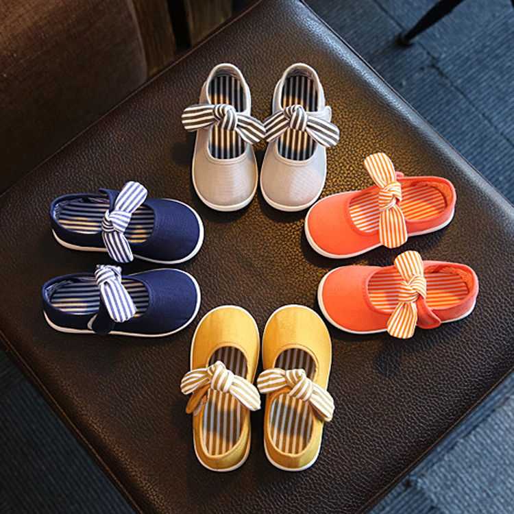 Kids Canvas Shoes Toddler Baby Boy Infant Girl Spring Leisure Soft Bottom Shoes Bow Comfortable Candy Colors SSW010