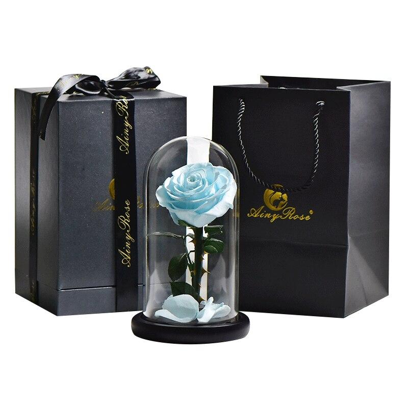 6 стилей,, свежие цветы красавицы и чудовища, красные вечные розы в стеклянном куполе, Рождественский подарок на день Святого Валентина, Прямая поставка - Цвет: blue with box