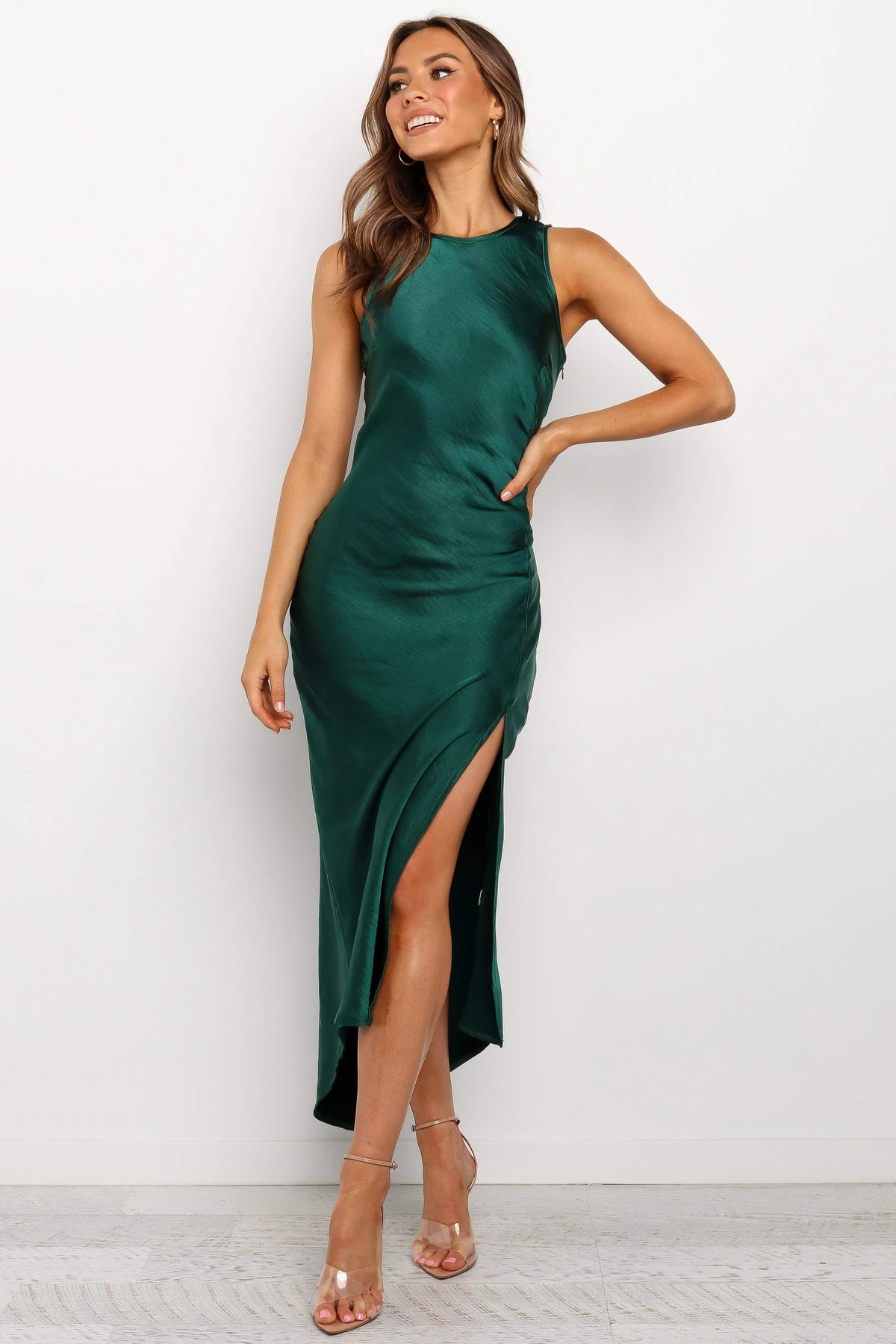 Womens Satin Silk Sleeveless Slip Dress Ladies V Neck Party Cocktail Midi Dress