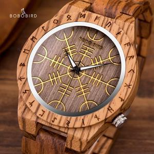 Image 1 - BOBOBIRD Orologio In Legno con Timone della Soggezione Aegishjalmr o Vegvisir e Runic bussola Orologio Personalizzato часы мужские