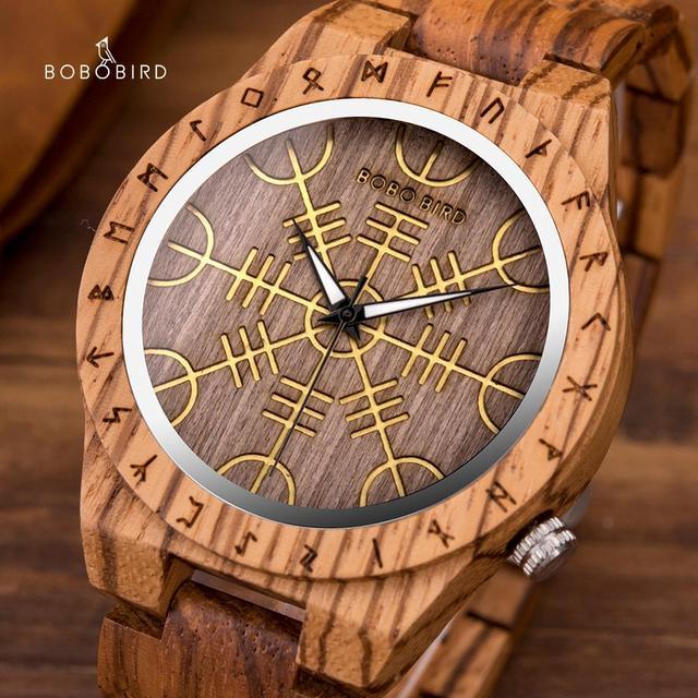 BOBOBIRD Orologio In Legno con Timone della Soggezione Aegishjalmr o Vegvisir e Runic bussola Orologio Personalizzato часы мужские