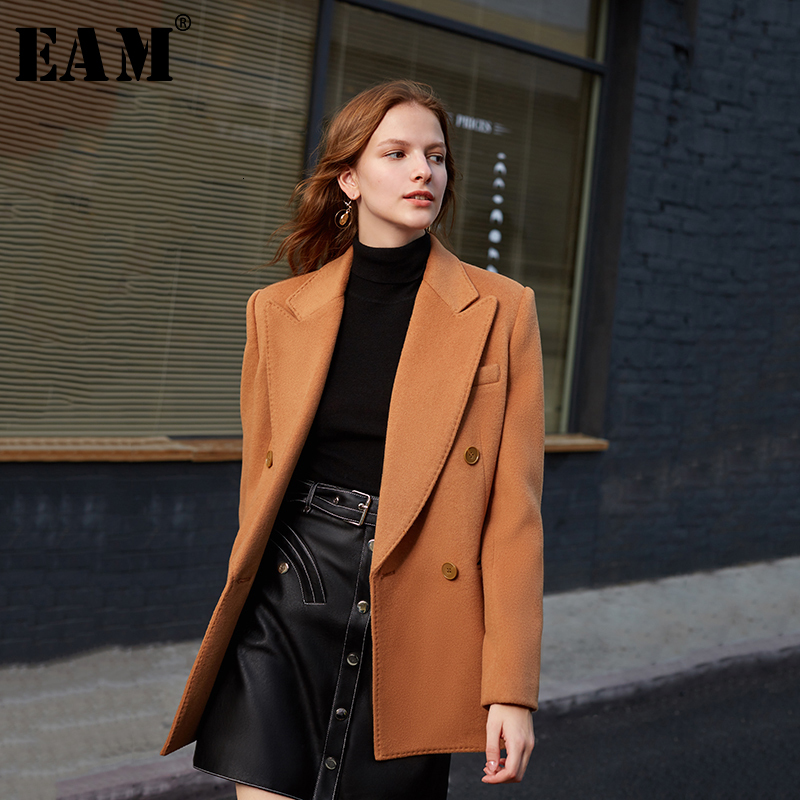 [EAM] Loose Fit Double Breasted Camel Brief Woolen Coat Parkas New Long Sleeve Women Fashion Tide Spring Autumn 2020 1K901