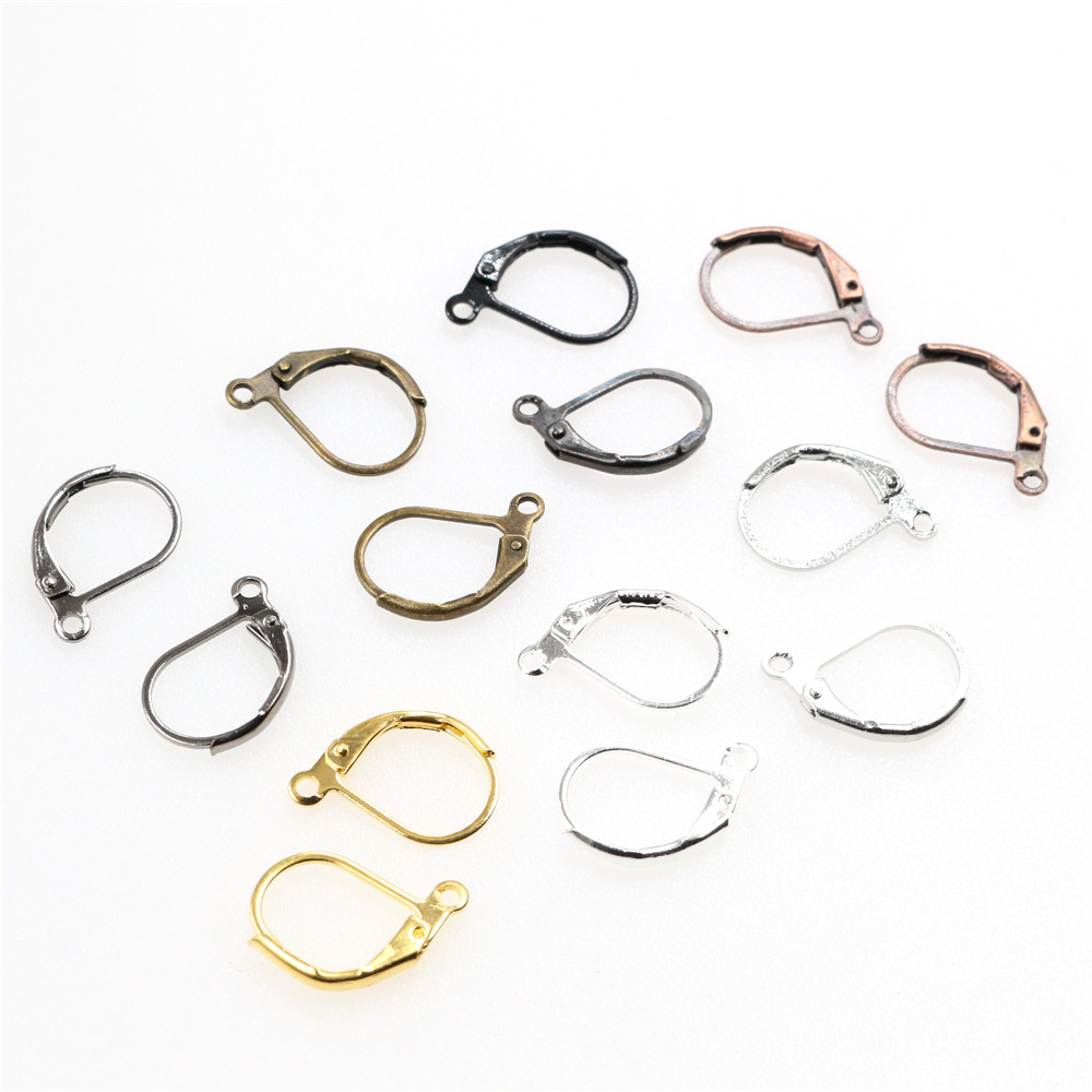 50pcs/lot 15*10mm Silver Gold French Lever Earring Hooks Wire Settings Base Hoops Earrings For DIY Jewelry Making Supplies