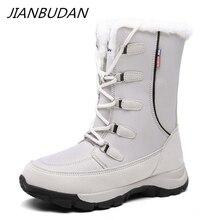 JIANBUDAN grande taille femmes hiver imperméable bottes de neige en peluche chaud décontracté femme coton chaussures en plein air neige bottes hautes 35 42