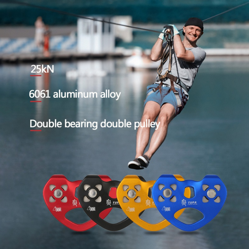 25kN Cable Trolley Pulley With Ball Bearing Outdoor Rock Ice Climbing Accessories Caving Rescue Aluminum Alloy Pulley