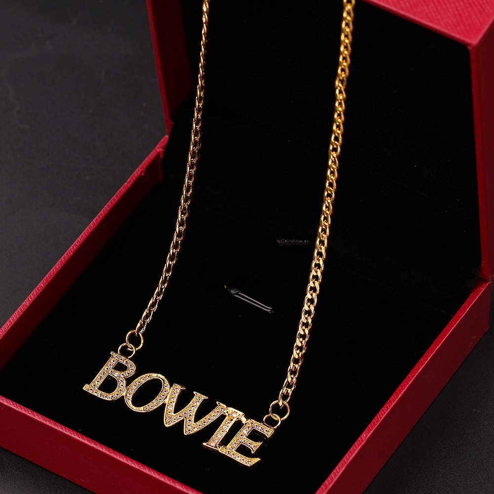 Nazwa własna kryształowe litery wisiorek naszyjnik dla kobiet mężczyzn numery spersonalizowane cyrkonia wisiorek prosta świąteczna biżuteria upominkowa