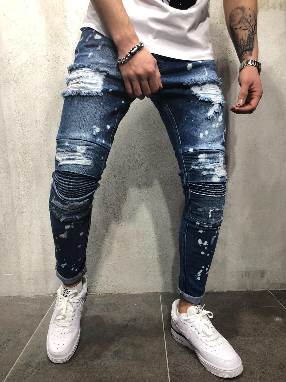 New Men Summer  Brand  Jeans Broken Hole Hip-hop  High Street Ripped Holes Jeans Pants Pleated Streak Plus Size  Haulage Motor B