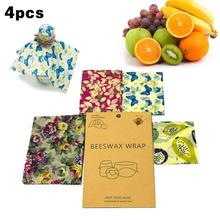 Buy 4PCS/Set Reusable Beeswax Wrap Washable Organic Beeswax Food Wraps Seal Storage Cloth Snack Food Wrapper Kitchen Preservation # directly from merchant!
