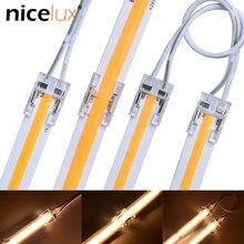 5 pces de alta densidade cob led strip conector para ip20 8mm 10mm 2pin única cor 5050 3528 fita luz tira para fio fob conectores