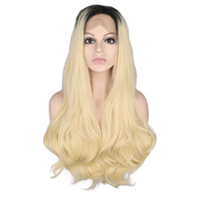 цена на QQXCAIW Synthetic Lace Front Wig For Women 1B to 613# Glueless 26 Inch Long Natural Wave Hair Cosplay Heat Resistant Fiber Wigs